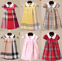 Wholesale Girls Fashion Europe - 12 styles plaid dress 2017 hot sell Europe and America style new arrivals Girls Lovely casual fashion high quality cotton dress free ship