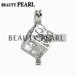 Wholesale Pearl Gift Boxes - 5 Pieces Love Heart Box Locket Cage Pendant Pearl Mountings Wish Pearl 925 Sterling Silver Gift Pendant