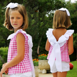 Wholesale Cute Short Pants For Girls - Girls Children Bow Clothing Sets For Baby Kids Summer Backless Plaid Ruffles Vest White Shorts Outfits Princess Bowknot Tops Tees Short Pant