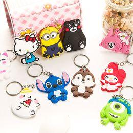 Wholesale Cool Rings For Women - New Cartoon Keychain Stitch Minions Mike Wazowski Key Rings Kumamon Hello Kitty Cool Keychains Gift for Women Kids