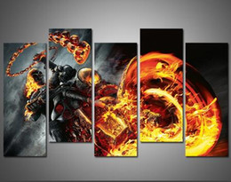 Wholesale Ghost Painting - Unframed 5 Pcs Modern Paintings Canvas Wall Art For Living Room the Lord Ghost Rider Oil Painting Printed in Canvas Beautifull Pictures