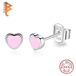 Wholesale Girls Enamel Earrings - BELAWANG Wholesale 925 Sterling Silver Love Heart Shape Stud Earrings Women Girl Fashion Jewelry Blue&Pink Enamel Earrings For Party Gift