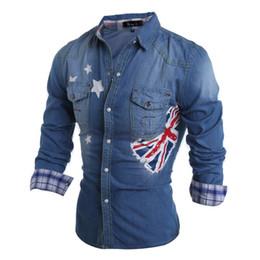 Wholesale Men S Dress Jeans - Wholesale- 2016 New Men Denim Shirts Long Sleeve Turn-Down Collar Fashion Slim Fit Style Dark Jeans Autumn Men Shirt Dress Camisa Masculina
