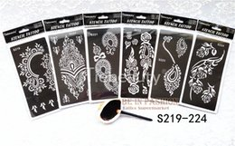 Wholesale Sheets For Glitter Tattoos - Wholesale-6pcs lot Temporary Tattoo Stencils sheets for Henna tattoo paste reusable Template professional new glitter Painting supplies