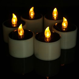 Wholesale Wholesale Flicker Tea Lights Candles - Colorfull Solar Energy Operated Flicker Solar Tealight Tea Candles Light for Wedding Birthday Party Festival Decorating 3002035