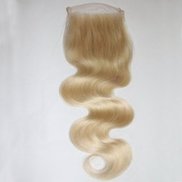 Wholesale Cheap Brazilian Remy Blonde Hair - 4*4 inch Blonde Brazilian Body Wave Lace Closure Bleached Knots #613 Cheap Virgin Remy Human Hair Lace Front Closure Free Middle 3 Part