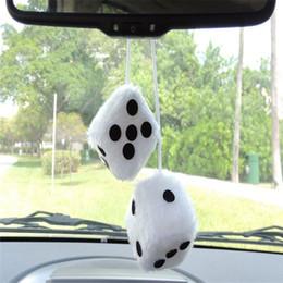 Wholesale plush accessories - Car Interior Decor Classic Plush Pair Black and White Hanging Mirror Car Fuzzy Dice Decor
