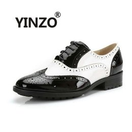 Wholesale Summer Dresses For Men - Wholesale- YINZO Brand Women Shoes New Fashion Genuine Leather sheepskin Oxford Shoes For Women Vintage Bullock shoes Flats Zapatos Mujer