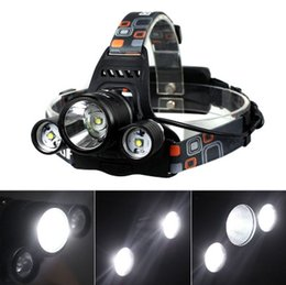 Wholesale X Zoom Flashlight - 3T6 Outdoor Headlamp 6000 Lumens 3 x Cree XM-L T6 Head Lamp High Power LED Headlamp Head Torch Lamp Flashlight Head +charger+car charger