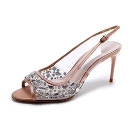 Wholesale Open Toe Diamond Ankle Shoes - 2017 Gladiator Crystal diamonds Shoes Peep-toe Women Sandals Genuine leather Rhinestones pumps 8 cm high heels Sexy Wedding Box Packing L072