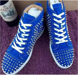 Wholesale Mens Sneakers Spikes - luxury red bottom High help sneakers Rivet decorati shoes men Spikes black suede fashion casual mens shoes men Casual trainer footwear