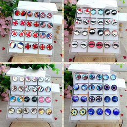Wholesale Cheap Gem Stones - 10mm Glass Stud Earrings for Women Cute Mixed Styles Earring for Lovers Jewelry Time Gem Stone Flag Earrings 12pairs lot Cheap Wholesale