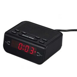 Wholesale Buzzer Led - Wholesale-Digital Alarm Clock FM Radio Modern Design Radio With Dual Alarm Buzzer Snooze Sleep Function Red LED Time Display klok