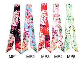 Wholesale Red Silk Small Scarves - New geranium printing Designer Tied Bag Scarf Small Bow Ribbon Headscarf Silk Scarves Wrap Twilly Handbag Decoration free shipping