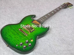 Wholesale Electric Guitar Green Sg - Custom Limited Trans Green Qulited Mape Top SG Double Cutaway Electric Guitar Different Towards Pickups installed Trapezoid Abalone Inlay