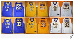 Wholesale Tiger Sleeveless Shirt - LSU Tigers #25 Ben Simmons 33 Shaquille O'Neal Mens American College Stitched Embroidery Vintage Retro basketball shirts Sports Team Jerseys