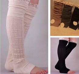 Wholesale Lace Socks For Boots Wholesale - Wholesale- 2015 Nice Lace Boot Socks For Women Cotton Leg Warmer 7Color For Choose polainas SK80004+40