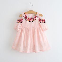 Wholesale European American Fashion Dresses - 2017 Baby Girls Print Floral Dresses Kids Girls Fashion Off-shoulder Dress Girl Spring Ruffle Dress Babies children's clothing
