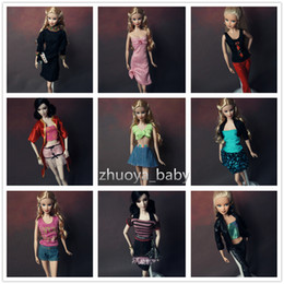 Wholesale Doll Clothes For Barbies - 10sets lot Wholesale New Fashion Wear Set Stylish pullip Doll Accessories Outfits Casual Princess lot Clothes for Barbie Doll