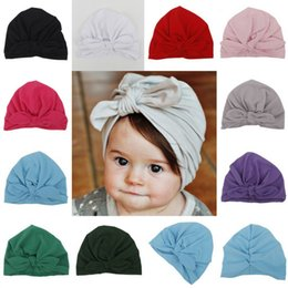 Wholesale Baby Boy Linen - Cute Newborns Bowknot Cap Girls boys 1-6 Year Baby Photography Turban Caps Accessories Kids Rabbit Ears Beanie Hat LC638