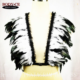 Wholesale Zentai Bdsm - Festival Rave Wear Feather Epaulette Wedding bridal Wings harness Bra Pastel Goth BDSM Lingerie,Fetish Burlesque Burning costum