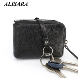 Wholesale Small Leather Pocket Change Holder - Wholesale- Zipper coin purse women's wallet famous brand genuine leather change purses Money Bag key Pouch Card Holder Small Coin Pocket