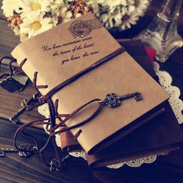 Wholesale Diary Agenda - Wholesale- 2017 Vintage Leather Notebook 320 pages Retro Journal Key Binding Diary Agenda Book Gold Side Sketchbook Stationery Gift 01646