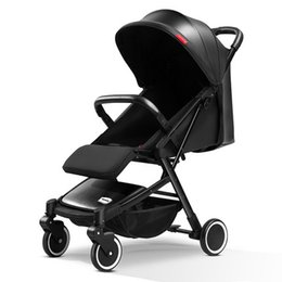 Wholesale Luxury Prams - Aluminum Alloy Frame Four-Wheel Shock Absorption Dustproof Easy To Carry Black Foldable Pram With A Gas-Permeable Ceiling And Luxury Leather