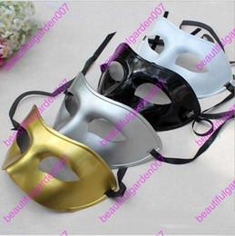 Wholesale White Plastic Face Mask - Men's Masquerade Mask Fancy Dress Venetian Masks Masquerade Masks Plastic Half Face Mask Optional Multi-color (Black, White, Gold, Silver)