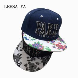 Wholesale Paris Snapback - Wholesale- Fashion Women Hats Men Baseball Cap Snapback Caps Floral Flower Letter PARIS Hip Hop Bone Gorras Adjustable Hats for Men 3 color