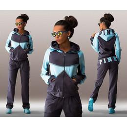 Wholesale Long Sleeves Pants - Winter Pink Fashion Sports Suit Jogging Suits For Women Letter vs Pink Print Sport Suit Hoodies Sweatshirt Pant Jogging Sportswear Costume