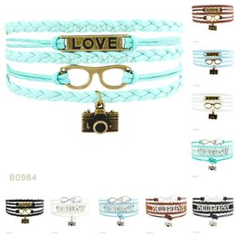 Wholesale Camera Charms For Bracelets - (10 Pieces Lot)Infinity Love Photography Camera Glasses Charm Suede Wrap Leather Bracelets For Women Men Gifts Jewelry