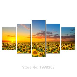 Wholesale Sunflower Oil Painting Canvas - 5 Panels New Sunflowers Canvas Paintings Artworks Landscape Pictures Printed Wall Art for Home Decorations with Wooden Framed