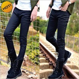 Wholesale Cheap Harems - Hot Style Boys Slim Fit Jeans Teenagers Thin Denim Solid Casual Cheap Black Bottoms Cuffed Strech Handsome Harem pencil Pants 28-34