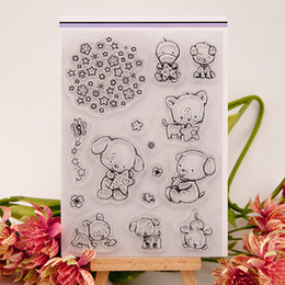 Wholesale Bear Rubber Stamp - Wholesale- lovely bear and star design clear transparent stamp rubber stamp for DIY scrapbooking paper card photo album decor LIN037