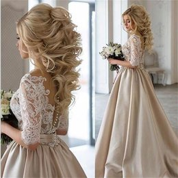 Wholesale Half Sleeves Tops - Half Sleeve Champagne Satin Ball Gown Wedding Dress Lace Top V Neckline High Quality Bridal Gown