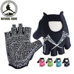 Wholesale Short Finger Bike Gloves - [NaturalHome] Brand Cycling Gloves Half Finger Short Gloves Men Women Hand Protect Breathable Shockproof Bike Bicycle Accessory