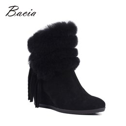 Wholesale Wedge Ankle Wool Boots - Bacia Fashion Edging Wool Fur Boots Black Tassel Shoes For Winter High Heel Wedges Euro 35-40 Shoes Solid Leather Boots VF005