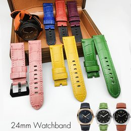 Wholesale Strap For Panerai - Wholesale 24mm Colorful Italian Vintage Genuine Leather Watch Band Strap Pin Buckle Watchband Strap for Panerai Watch PAM Man with Tools