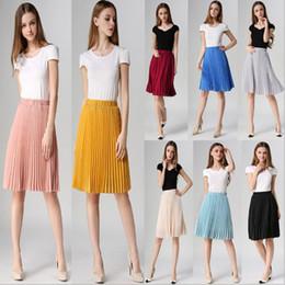 ed34303137 8 Colores Faldas de Las Mujeres Estilo de Verano de Alta Calidad de Las  Mujeres de Cintura Alta Longitud Plisada Falda Moda Caliente Grueso  Breathble ...
