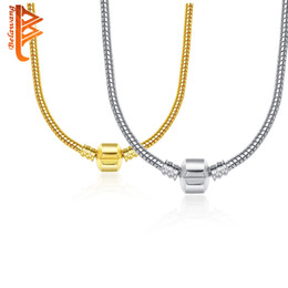 Wholesale Copper Clasps Jewelry Making - BEAWANG 2 Colors Silver&Gold 925 Silver Plated Necklace Snake Chain with Clasp Fit European Charm Beads DIY Jewelry Making
