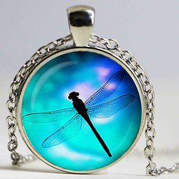 Wholesale Glass Dragonfly Pendant - Dragonfly Glass pendant. Dragonfly insect Necklace, Dragonfly jewelry, birthday gift,Glass cabochon pendant ,Handmake