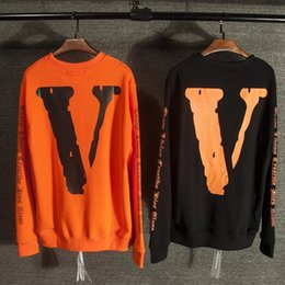 Wholesale White Long Sleeves For Women - Men fashion vlone for off white hoodie hip hop sweatshirt women harajuku sport palace skateboards pullover tracksuit free shipping