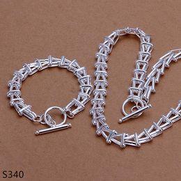 Wholesale Cheap Bracelet Necklaces Sets - hot men's sterling silver jewelry sets,cheap fashion 925 silver Necklace Bracelet jewelry set 7 same price mix style GTS2a
