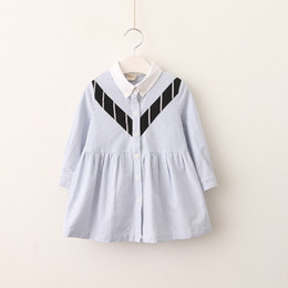 Wholesale Spring Floral Print Dresses - Everweekend Girls Eight Print Striped Ruffles Dress Lovely Kids Turn-down Collar Clothes Sweet Baby Button Autumn Clothing