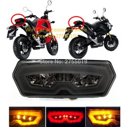 Wholesale Led Light Turn Stop - Motorcycle Rear Tail Light 3 Color Motocross LED Turn Signal Lamp Stop Brake Flasher For Honda motorcycle MSX125 CTX700N CBR650F