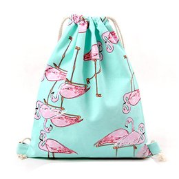 Wholesale School Bag Birds - Wholesale- VSEN Hot Bag for Girls School Shoes Flamingos Shoes Bags Cotton Travel Shoulders Backpack Drawstring Storage Bags (Blue bird)