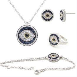 Wholesale Jewelry Turkey Gold Bracelet - New style Turkey Devil Eye Bracelet,ring ,Earrings & Neck High Quality Vacuum Plated Platinum Exorcist jewelry set free shipping