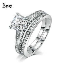 Wholesale Wedding Ring Designs White Gold - New Design Princess Square Crystal Stone 5A Zircon White Gold Filled Engagement Wedding Band Double Ring Set Sz 6-10