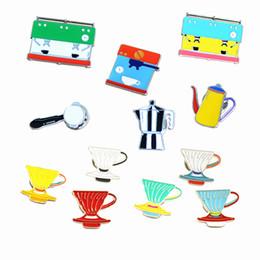 Wholesale Harajuku Brooch - Wholesale- 12 designs coffee mug cup pot brooch pins for men and women fashion colorful cloth blue brooch harajuku brooch bouquet wedding